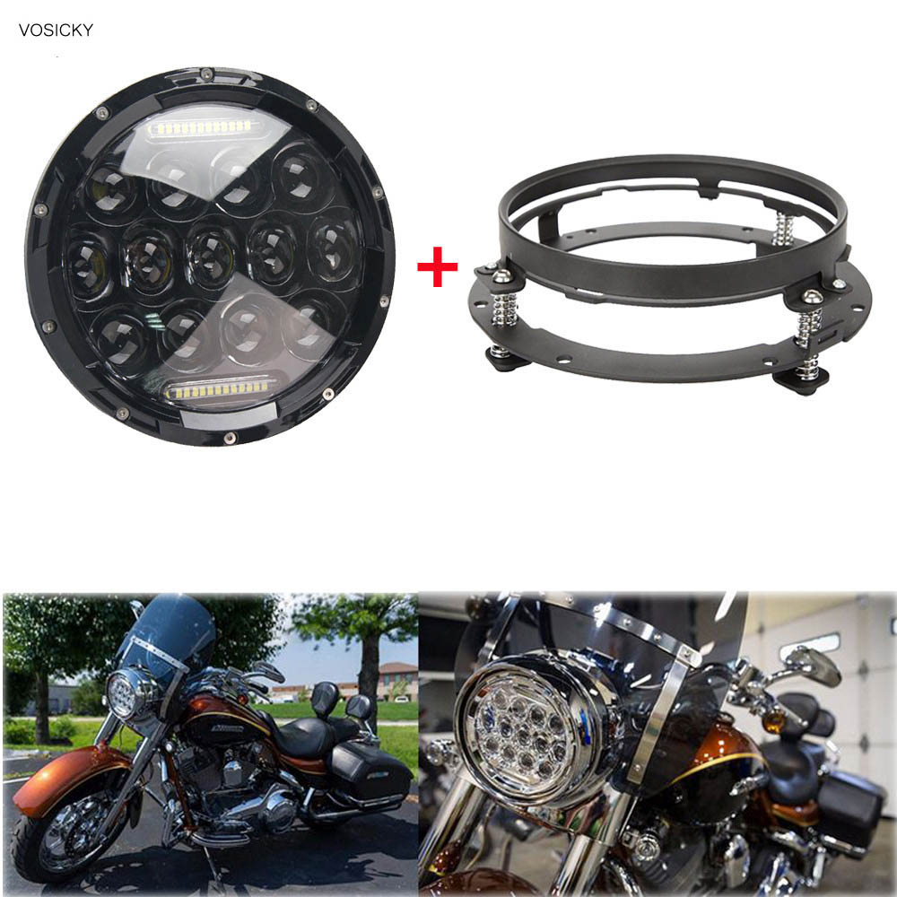 VOSICKY 75W 7 inch LED Headlight Hi/Low Beam Head Light DRL for Harley with 7 inch bracket  ring for wrangler TJ LJ JK CJ-7 CJ-8 7inch 75w round led headlight 7500lm hi low beam head light with bulb drl for wrangler tj lj jk cj 7 cj 8 scrambler harley