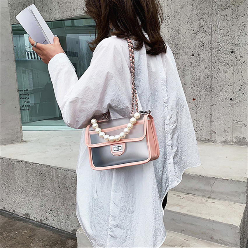 TOYOOSKY Transparent Flap Messenger Bags Women Luxury Brand Designer Chain Ladies Shoulder Bags Solid PVC Clear Female Handbag in Shoulder Bags from Luggage Bags