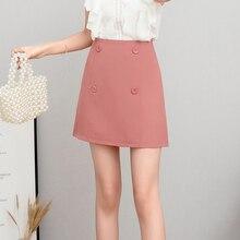 купить Spring Autumn Short Button High Waist Skirt Women Elegant New Formal Female Office Lady Mini Skirt Solid Colors дешево
