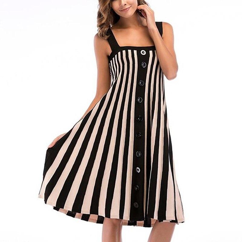 GAOKE Striped button sexy casual summer strap dress Long boho beach backless women sundress vestidos Elegant daily dess female