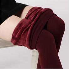 2017 S-XL Inverno Cintura Alta Elástica Além de Veludo Engrossar Leggings Calças Quentes das Mulheres de Boa Qualidade Cashmere Grosso Calças Femininas(China (Mainland))