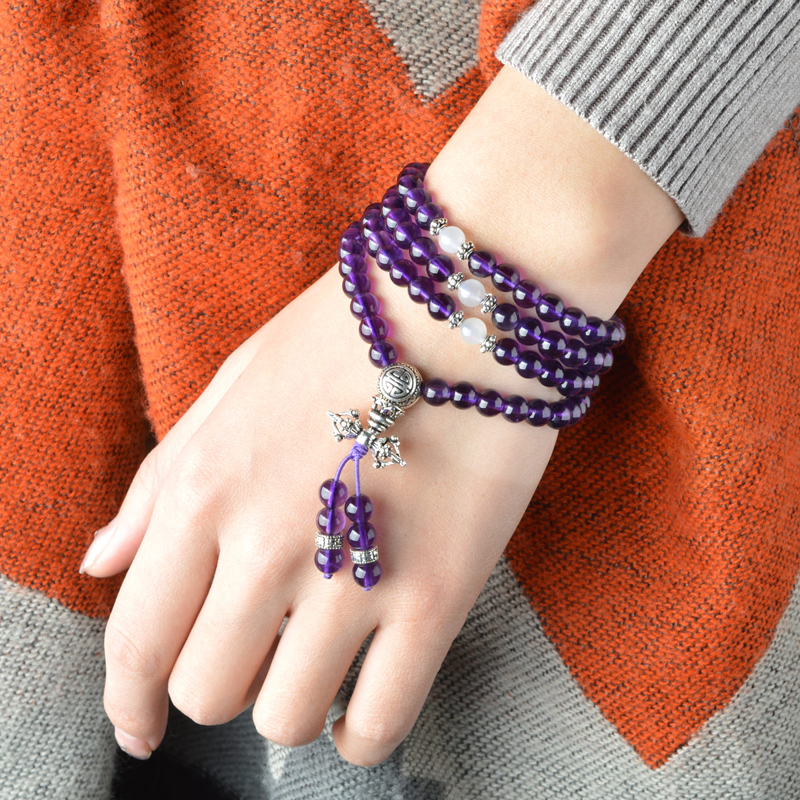 Bracelet Violet Crystal Beads Bracelet Women and Men Couples Jewelry Diameter of