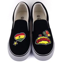 E LOV Creative Pop Art African Country Ghana Flag Customization Canvas Shoes Designer Ghanaian Platform Shoes Chaussures Femme