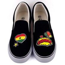 E LOV الإبداعية البوب الفن الأفريقي البلاد غانا العلم التخصيص حذاء قماش مصمم الغاني أحذية منصة Chaussures فام