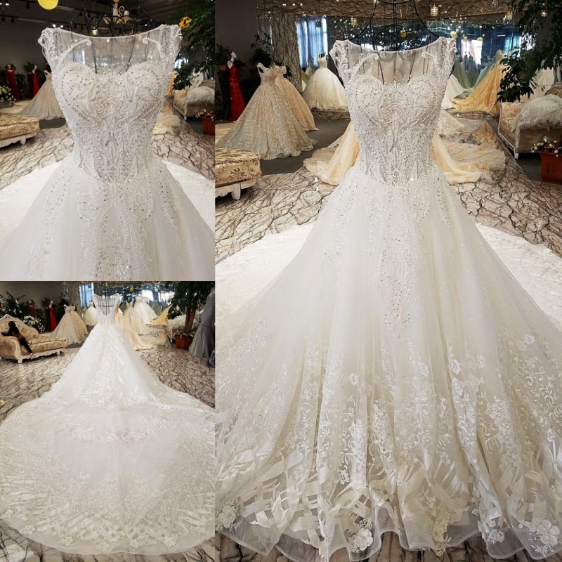 LS8833 luxury wedding dresses o neck sleeveless lace up backless ball gown  beading wedding dresses from china real photos-in Wedding Dresses from  Weddings ... fe98ab8b5fd6