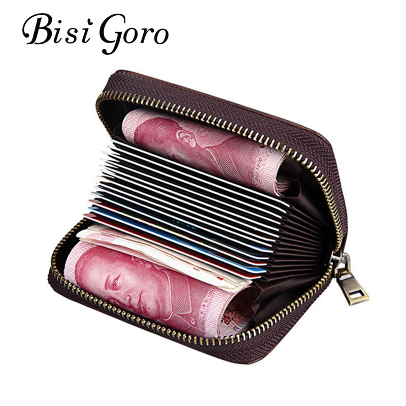 BISI GORO 2018 Unisex Genuine Leather Zipper Credit Card Holder Wallet Bank Credit Card Case ID Holders High Capacity ...