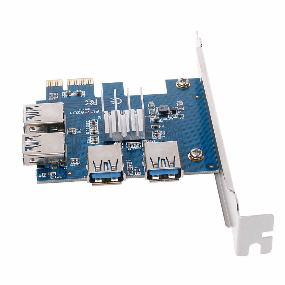 PCI-E to PCI-E Adapter 1 Turn 4 PCI-E Slot One to Four USB 3.0 Mining Special Riser Card F28 dropshipping d1406 2sd1406 to 220f