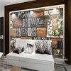 Custom Photo Wallpaper Large 3D Mural Wall Sticker Retro Wooden Plate Metal Elk Deer Gear Background