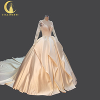 JIALINZEYI Real Red Luxurious Long Sleeves Lace Appliques Light Champagne Satin V Back Elegent Brial Wedding Dresses Ball Gown