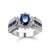 BOAKO Blue Gem Zircon Created Blue Crystal Silver Color Wedding Finger Crystal Ring Brand Jewelry for Women bague femme B3 top quality princess kate blue gem created blue crystal 925 sterling silver wedding finger crystal ring brand jewelry for women