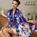 Genuino de las mujeres Chales Bufanda Bufandas de Moda Impreso 100% Seda de Mora de Seda de Gran Tamaño Pañuelo Femenino Protector Solar FW201