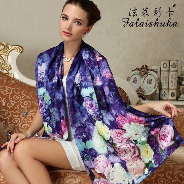 Women Genuine Silk Scarves Fashion Printed 100% Mulberry Silk Scarf Shawls Large Size Female Neckerchief Sunscreen FW201