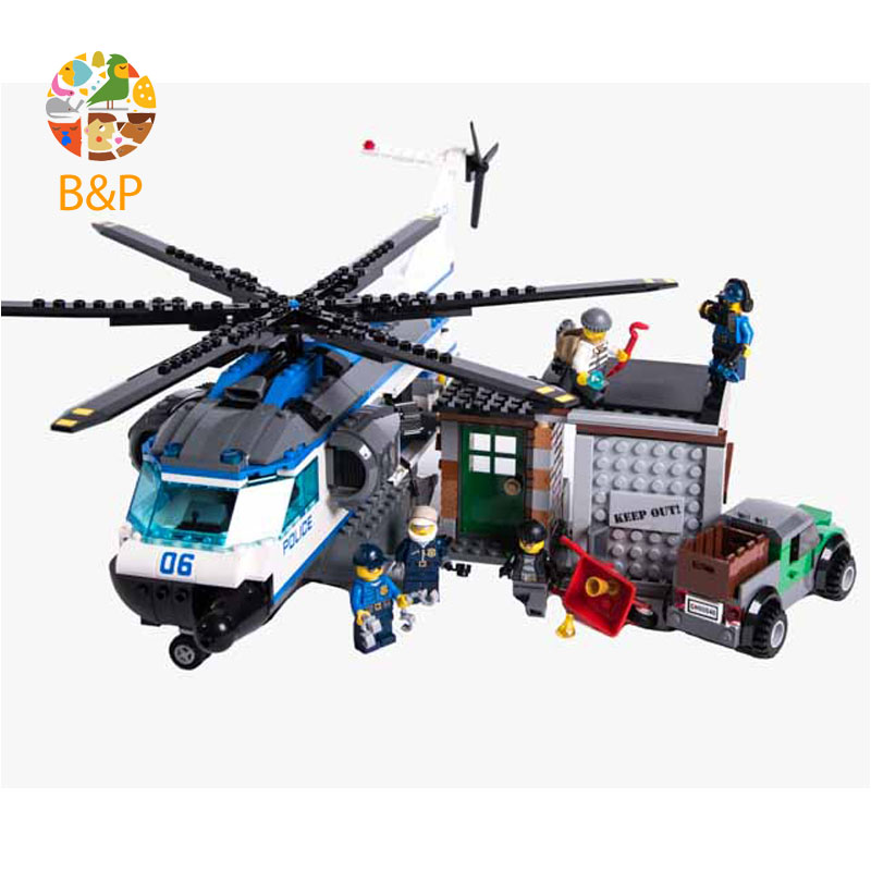 Legoing Police inspect the helicopter 60046 528 Building Blcok set Brick compatible 10423 Toys for children Gift 528pcs 10423 urban police helicopter surveillance building blocks kids educational bricks gift toys compatible lepin city 60046