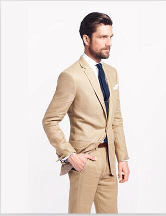 2017 Khaki Tan Linen Mens Suits For Beach Wedding Casual