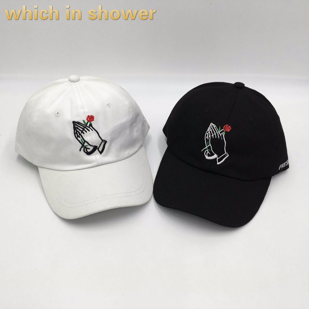 which in shower brand rose in hand embroidery dad hat women men slouch cotton   baseball     cap   k pop curved lover snapback hat bone