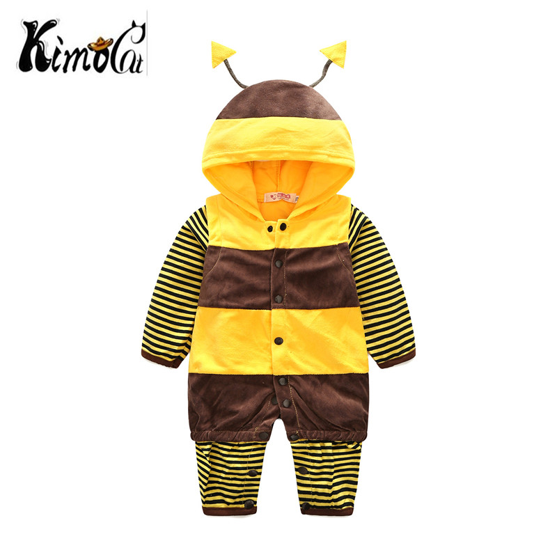 Kimoca Cute bee Ear Hooded Baby Rompers For Babies Boy Girls Clothes Newborn Clothing Brands Jumpsuit Infant Costume Baby Outfit newborn infant baby boy girl clothing cute hooded clothes romper long sleeve striped jumpsuit baby boys outfit