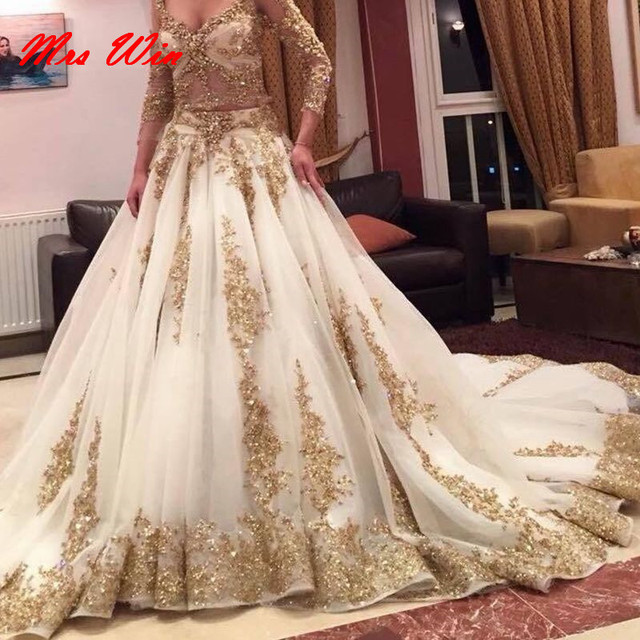 2017 Luxury Two Pieces Indian Wedding Dresses White Gold Applique - White Indian Wedding Dress