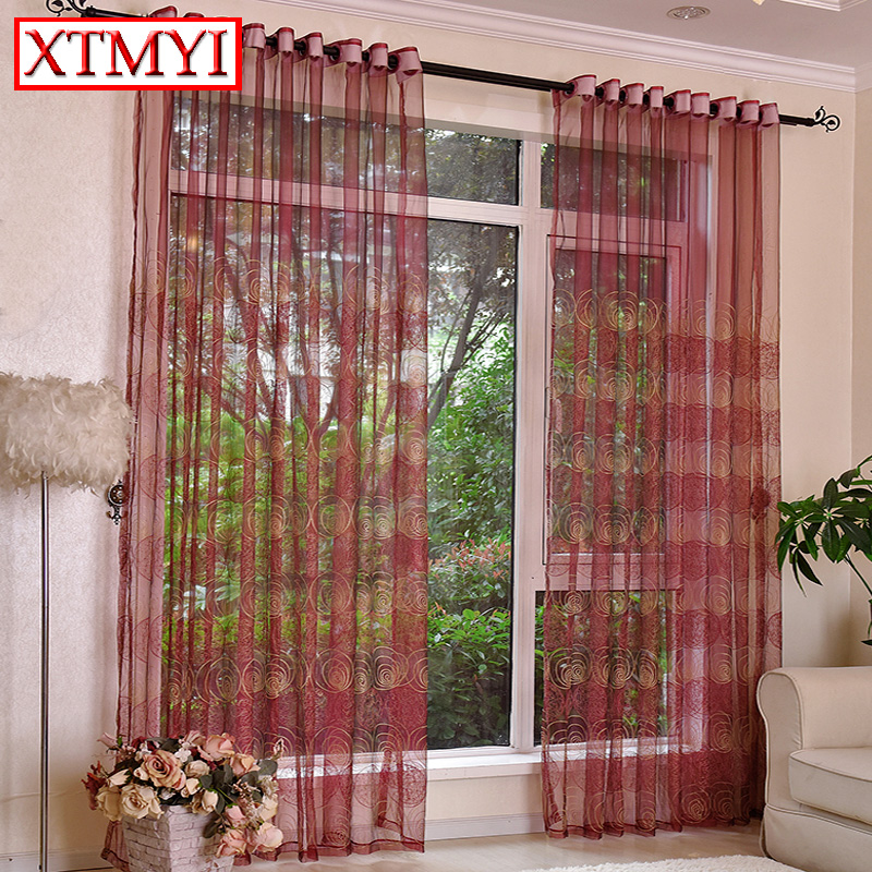 Embroidered tulle curtains for kitchen Wine red brown window curtain living room bedroom Panels ...