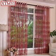 Cortinas de tul bordado de cocina Vino rojo/marrón Paneles dormitorio sala de estar cortina Investigación de la Ventana de persianas de ventana quarto