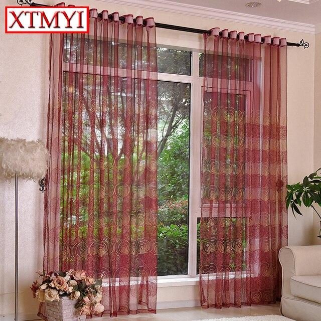 Europäischen Stil Tüll Vorhänge Für Küche Rot/Braun Bestickt