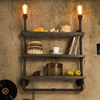 American Country Waterpipe Wall Lamps European Industrial Water Pipe Bookshelf Wall Lights Fixture Cafes Home Indoor
