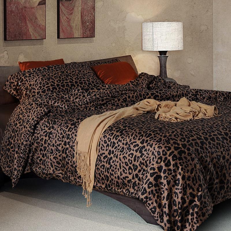 100 sateen cotton bedding set leopard print duvet cover set 300tc home textiles king queen size - Cheetah bedspreads ...