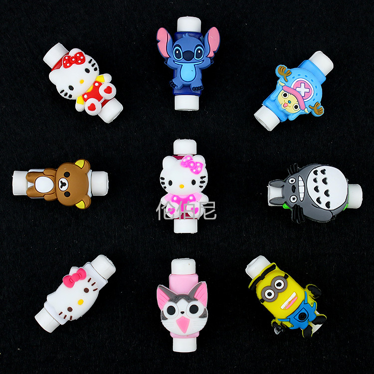 Cartoon Cable Protector Data Line Cord Protector Protective Case Cable Winder Cover For iPhone Huawei Samsung USB Charging Cable купить недорого в Москве
