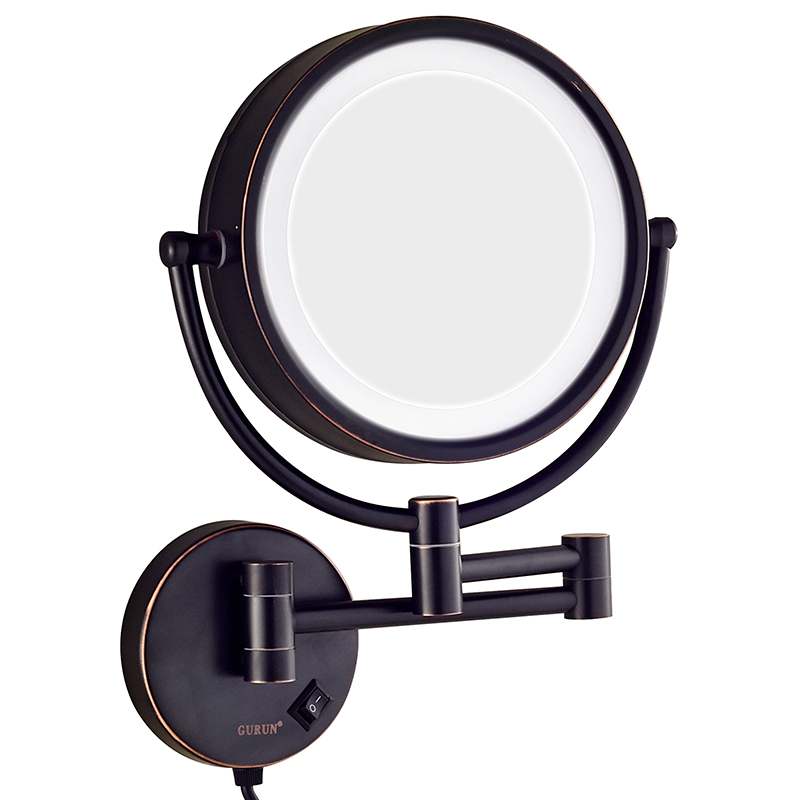 GURUN LED Lighted Wall Mount Makeup Mirror with 10x Magnification Oil-Rubbed Bronze Finish 8.5 Inch BRASS double side M1809DO