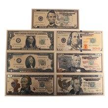 7 шт./компл. 24K позолоченный сувенир домашнее украшение реалистичные купюр долларов Античная покрытием высокое качество памятные заметки