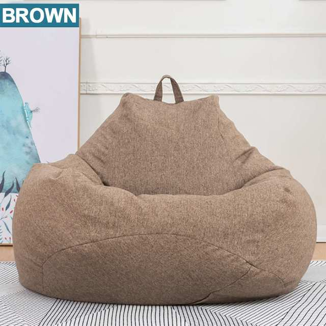 Lazy BeanBag Sofas Cover Chairs without Filler Linen Cloth Lounger Seat Bean Bag Pouf Puff Couch Tatami Living Room Furniture