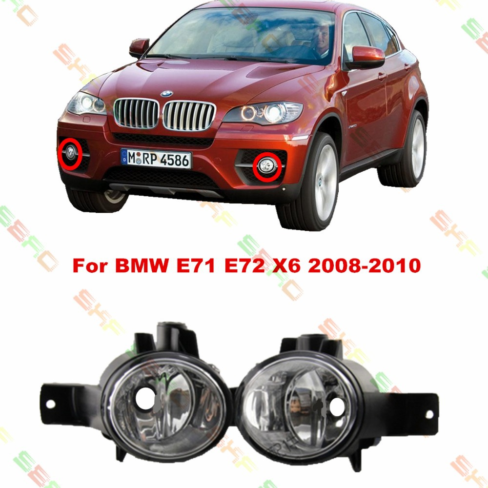 For BMW E71 E72 X6 2008/09/10/11 car styling fog lights 1 SET FOG LAMPS carbon fiber car rear bumper extension lip spoiler diffuser for bmw x6 e71 e72 2008 2014 xdrive 35i 50i black frp