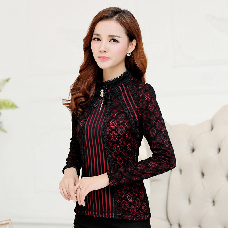 23169a29ee2 Aliexpress.com   Buy 2018 Autumn Winter Fashion Lace Blouse Long Sleeve  Slim Floral Lace Shirt Womens Tops and blouses Elegant Plus Size Tops 801G  25 from ...
