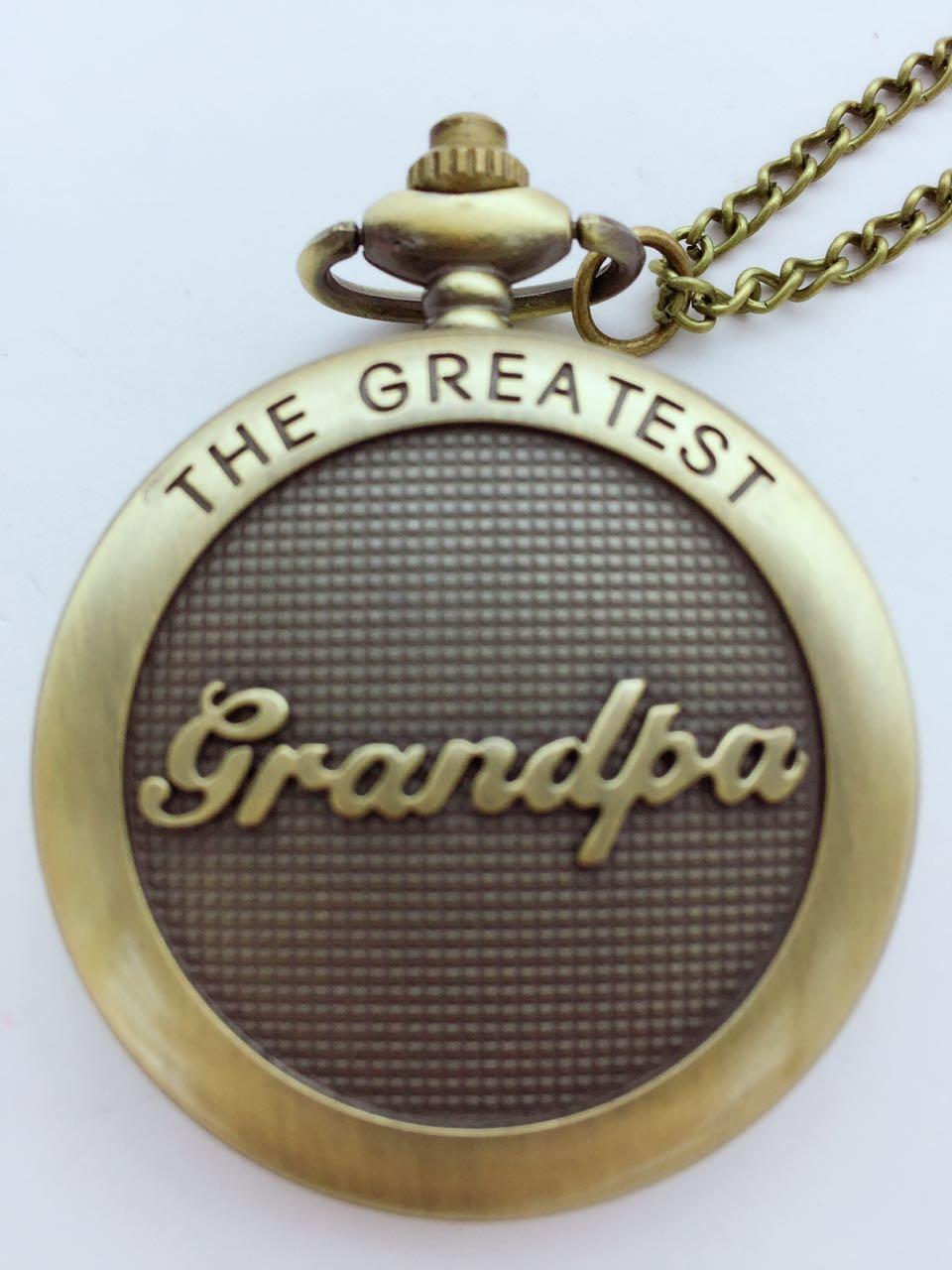 Vintage Bronze antiques grandpa Fashion quartz Roman numerals Modern clock Necklace pocket watches gift