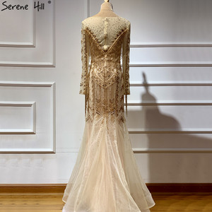 Image 2 - Dubai Design Long Sleeves Luxury Evening Dresses 2020 Gold Beading Tassel Evening Dress Long Real Photo LA60780