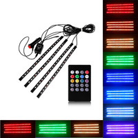 4pcs Car RGB LED Strip Light Music Control LED Strip lights 8 Colors Car Styling Atmosphere Lamps Car Interior Light With Remote
