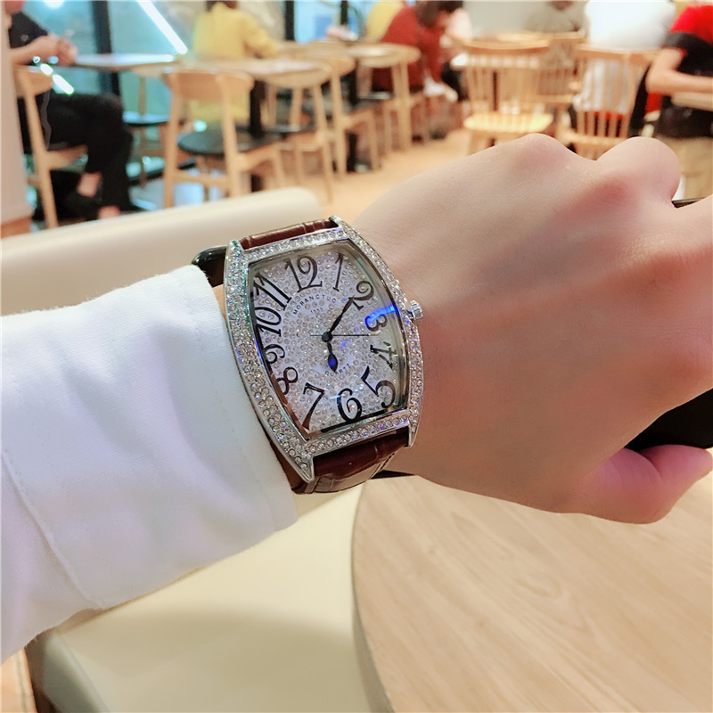 2019 New Hot Selling <font><b>Couple</b></font> Watch Wine Barrel Shape FM Full Star Watch Full Diamond Waterproof Quartz Watch image