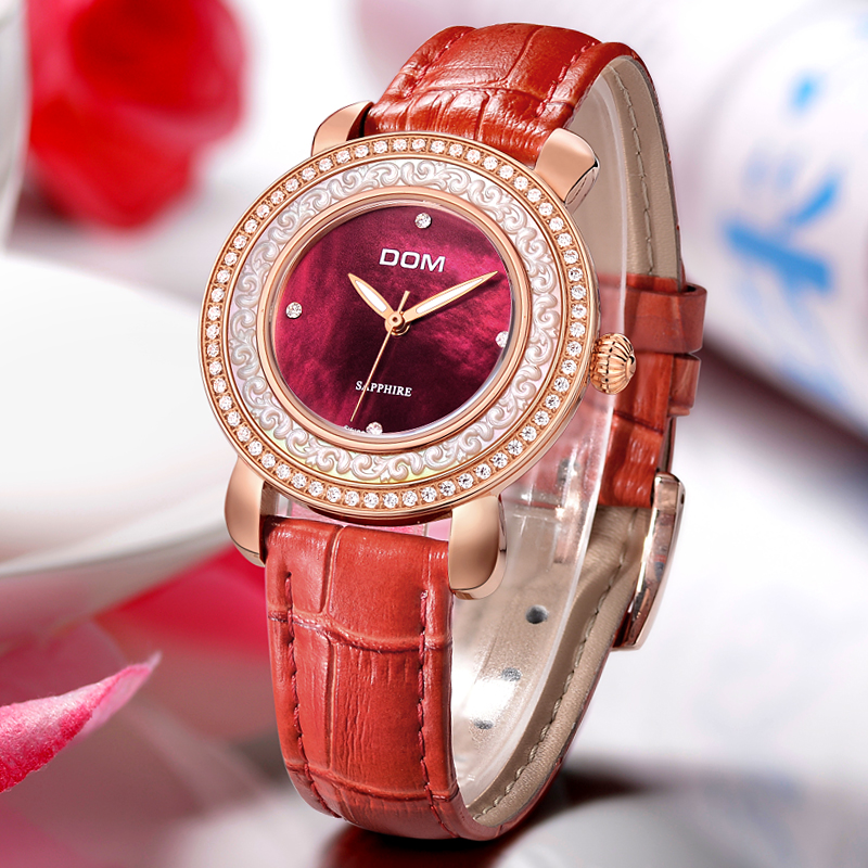 DOM 2016 Women Watches Rhinestone Crystal Quartz Watch Leather Belt Fashion Personality Casual Sports Waterproof Wristwatch