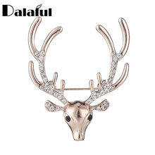 Dalaful Vivid Corna di Cervo Testa Spilla Pins Sciarpa Animale Spille Clip Accessori Dei Monili Delle Donne Wedding Pins Z039(China)