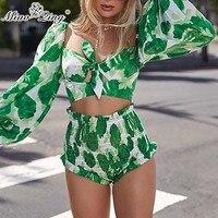 MIAOQING Print Sexy Two Piece Set Women Square Collar Lantern Sleeve Crop Tops High Waist Slim Shorts Female Suit Summer 2019
