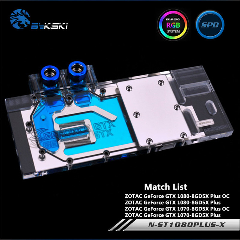 Bykski Full Coverage GPU Water Block For ZOTAC GTX1080 1070 Plus OC Graphics Card N-ST1080PLUS-X computador cooling fan replacement for msi twin frozr ii r7770 hd 7770 n460 n560 gtx graphics video card fans pld08010s12hh