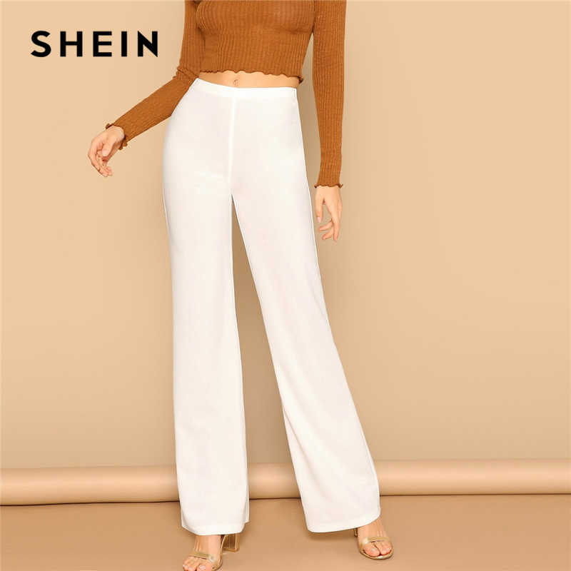 SHEIN White High Waist Straight Leg Pants Office Lady Elastic Waist Long Trousers 2019 Women Spring Plain Workwear Pants