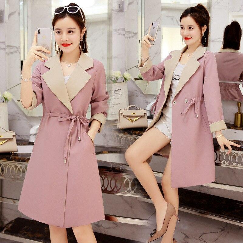 Fashion 2018 NEW Long Trench Coat Women Korean Spring Chic Waist Slim Girls Autumn Coat Casual Windbreaker Female A792
