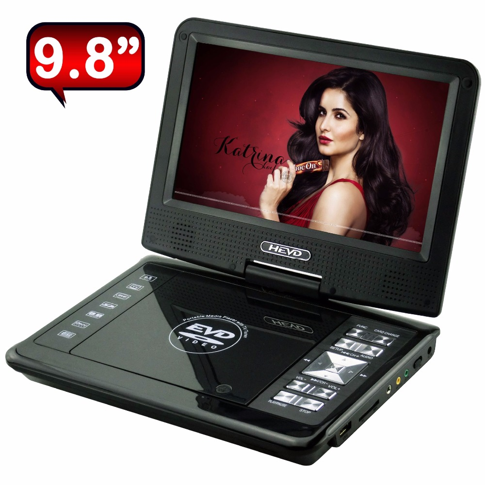 9.8 Inch Portable DVD Player Digital Multimedia Player Anolog TV Play support Ebook DVD, EVD,CD,VCD,DVD, CD-RW,DVD-R,DVD-RW гений 2016 dvd