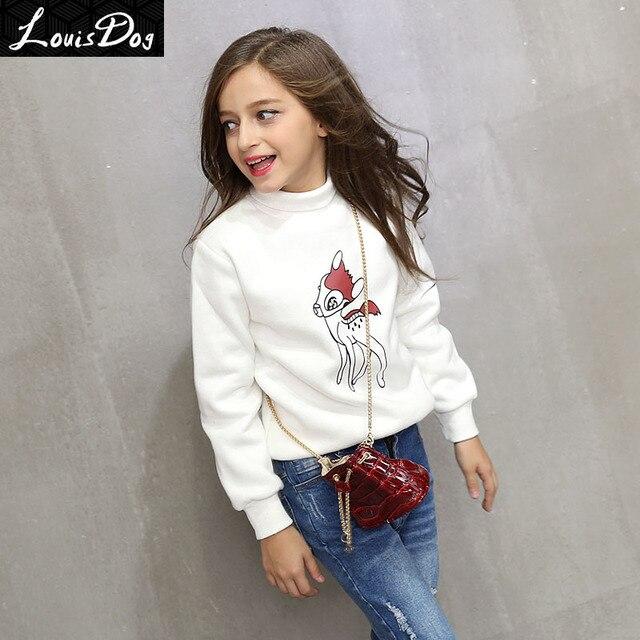 LouisDog Turtleneck Sweatshirts for Teenage Girls Kids Thick Pullover Sweatshirt 100% Cotton Children's Cartoon Deer Clothes