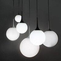 Modern Süt Küre Cam Gölge Kolye Işıklar Yemek Odası Bar Restoran Dekoratif Kugellampe Asılı Kolye Lamba Fikstür