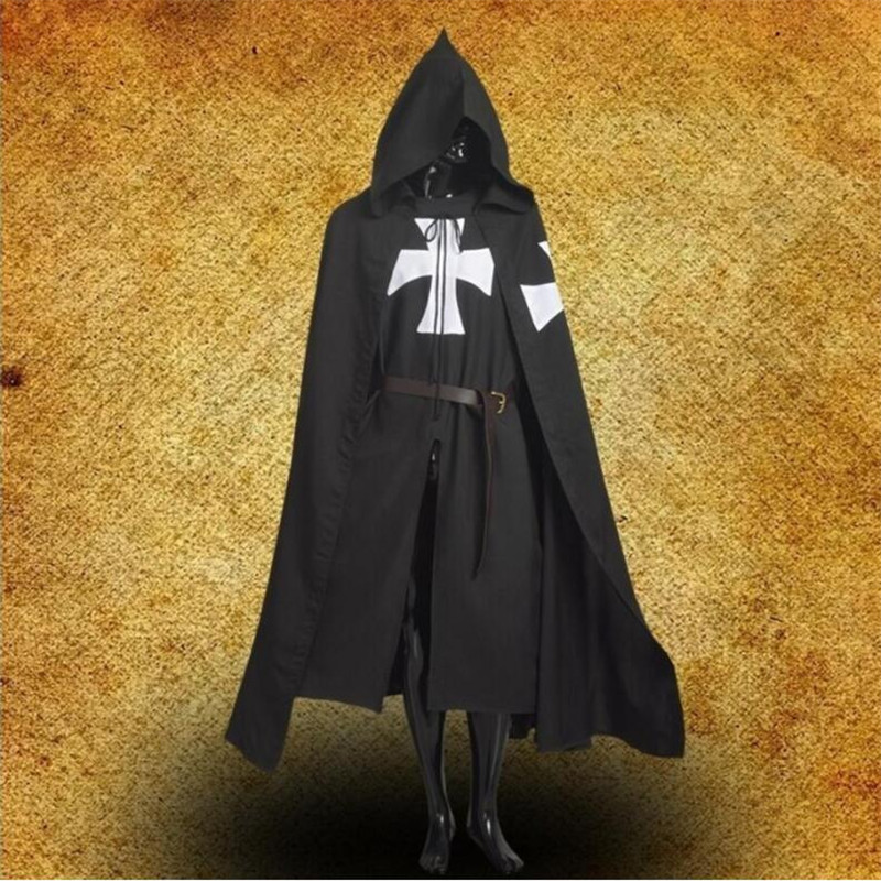 Medieval Crusaders Cosplay Cloak Knight Hooded Cloak Pope Death Knight Costume Warrior Robe Black