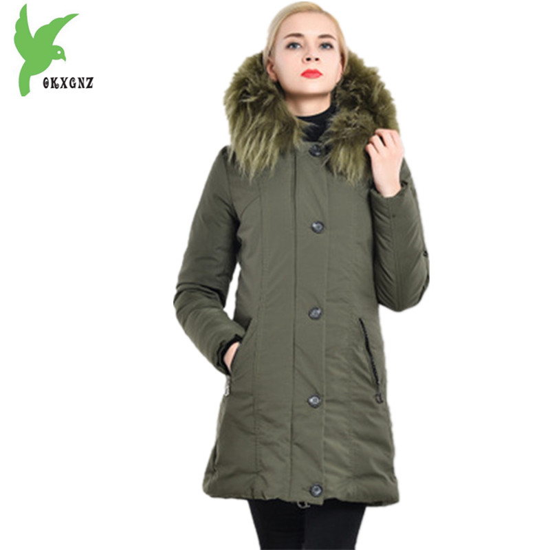 New Women Winter Down cotton Jacket Coat Medium length Parkas Plus size Thick warm Jacket Hooded Fur collar Outerwear OKXGNZ1119 women winter coat jacket 2017 hooded fur collar plus size warm down cotton coat thicke solid color cotton outerwear parka wa892