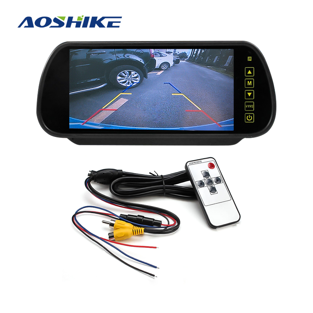 AOSHIKE 7 Screen 800*480 12V Car Monitor For Rear View Camera 7 Inch LCD LED Display Universal With Vehicle Camera Parking(China)
