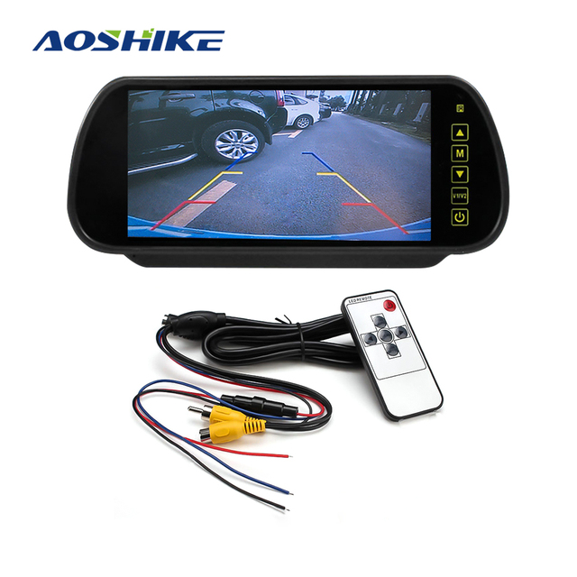 AOSHIKE 7 מסך 800*480 12V רכב צג למבט אחורי מצלמה 7 אינץ LCD LED תצוגת אוניברסלי עם רכב מצלמה חניה
