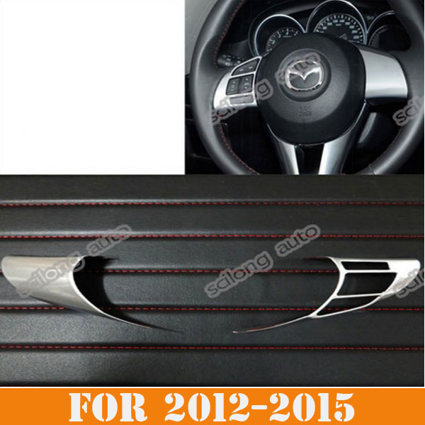 Sikali skl chrome steering wheeling trim interior frame decoration car styling accessories fit for 2013 2015 mazda cx 5 cx5 in car stickers from